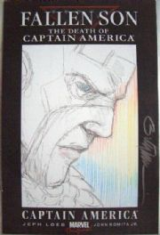 Fallen Son Death of Captain America Signed Colour Head Sketch 2 Billy Tucci